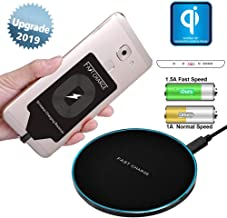 Qi Fast Wireless Charger Pad Station with Charging Receiver Adapter Card Kit Applicable for Micro USB Samsung Galaxy J7 Pro S4 S3 Note 4 A7 A5 A3 LG G4 Stylo 3 2 Plus V10 K7 Q6 X Moto G6 Paly G5