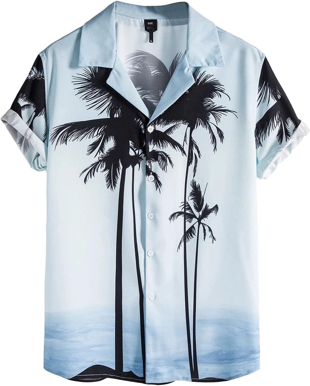 Mens Summer Hawaiian Shirt Short Down Button Virginia Beach Mall Sleeve Max 61% OFF Shi Tropical