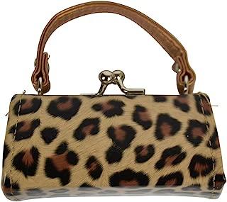 Leopard Colorful Lipstick Case with Handle Mini Purse - Tan
