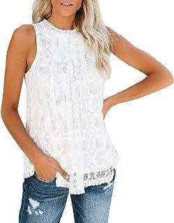kolila Womens Lace Crochet Sleeveless Tank Tops Sexy Halter Mesh Crochet Hollow Out Nightout Tanks Flowy Loose Shirts
