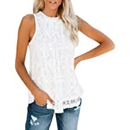 CHAELAKES Women Lace Tops Summer Casual Sleeveless O Neck Pleated Loose Hem Sexy Tank Top Blouse...