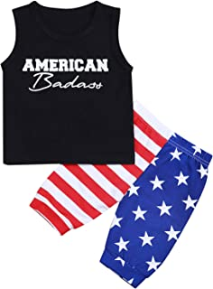 fiercewolf 4th of July Baby Boy Outfits American Badass Vest Tops + Stars Stripes Shorts