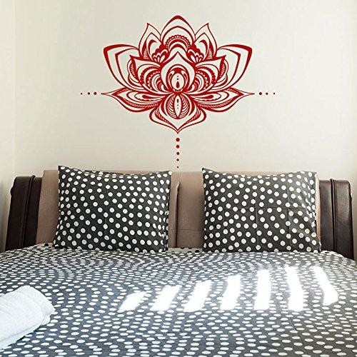 Calcomanía bohemia flor de loto Mandala pegatina de pared decoración del hogar para dormitorio Boho Yoga Studio decoración Mural Interior A2 53x42cm