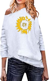 👏 Happylove 👏 Casual Loose Sweatshirt,Women's Off The Shoulder Tops Shirt Sunflower Print Long Sleeve Blouse Pullover