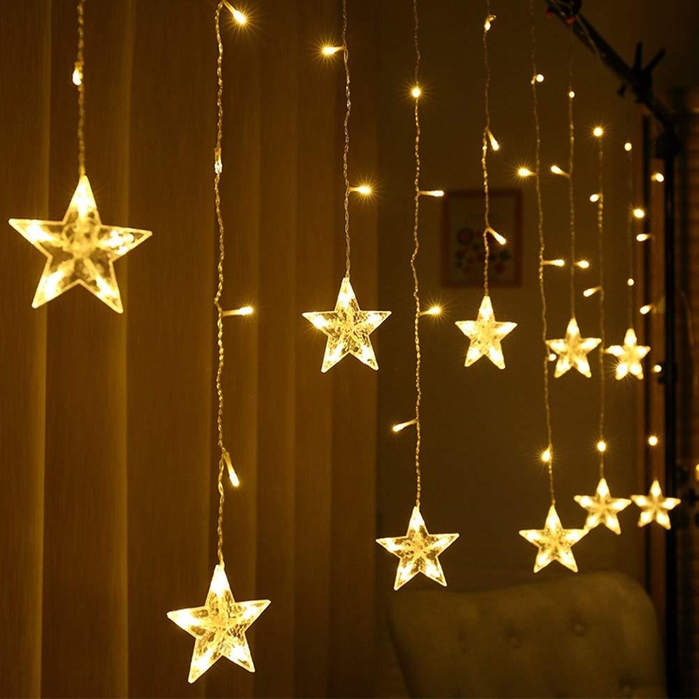 ZXYSHOP Cadena De Luces LED De Colores 3.5 Metros, Cortina 12 Estrellas De Colores para Navidad, Decoracion De Fiestas, Celebraciones, 8 Programas De Cambio De Luz (Luz Cálida),Azul,RemoteUSB: Amazon.es: Hogar