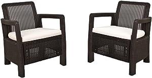 Keter -  Conjunto de sillones de jardín exterior Tarifa con cojines incluidos, Color marrón,