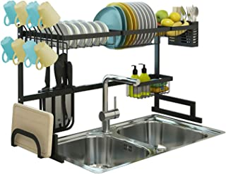 Over Sink Dish Drying Rack, Drainer Shelf for Kitchen Supplies Storage, Counter Organizer, Utensils Holder, 2 Tier for Kitchen Countertop, Rustless Stainless Steel, Space Saver Display Stand (Black)