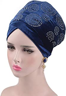 Fashian Lady Crystal Velvet Muslim Turban Pleated Head Wrap Scarf Long Tail Hat Pre Tied Headwear Cancer Chemo Cap WJ-09 (Color : 2, Size : 170 * 26CM)