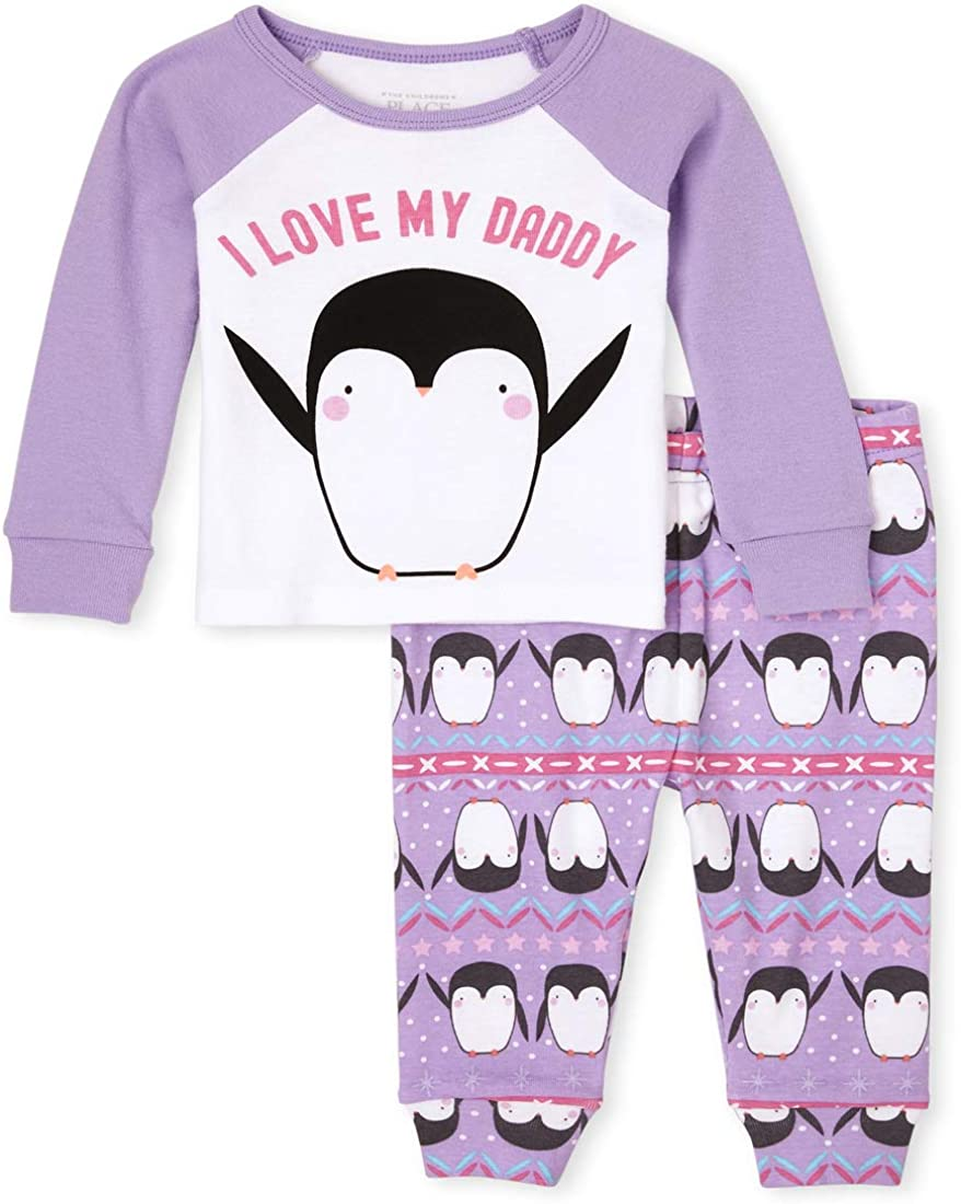 The Children's Place Baby Girls' Penguin Two Piece Pajama Set