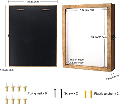 TJ.MOREE Shadow Box Display Case 11 x 14 Shadowbox Frame with Linen Back Memorabilia Bouquet Medals Photos Memory Box for Kee