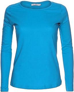 8d454e0c3377 Camiseta de manga larga para mujer, cuello redondo, diseño liso.  Tallas