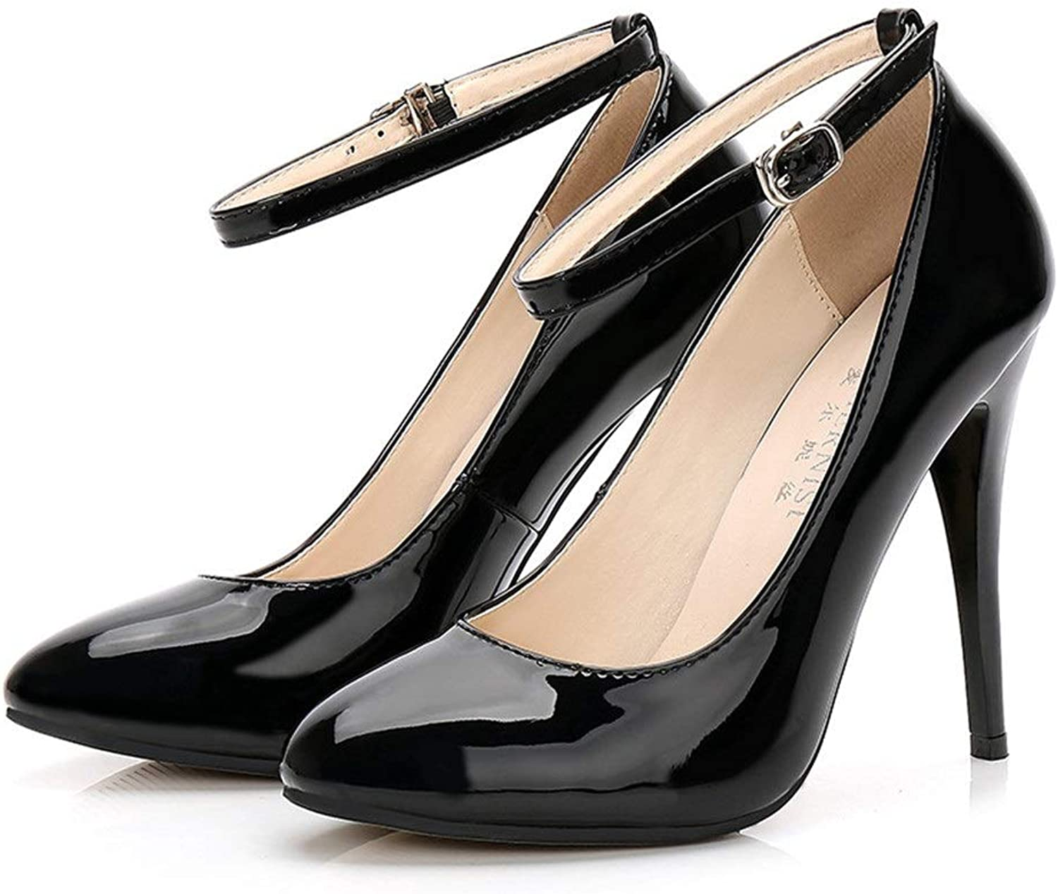 Women's Black Sexy High Heels Closed Leather Ankle Buckle Classic Court Wedding shoes (12cm)