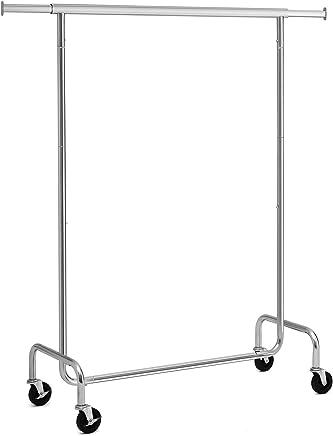 SONGMICS Portant à vêtements, Charge Max,130 kg, Télescopique, Réglable, avec roulettes, Mètal chromé HSR11S