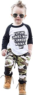 2PCS Baby Boys Clothes Letter T-Shirt Cool Tops+Camouflage Pants Outfit Set Letter Toddler Long Sleeve