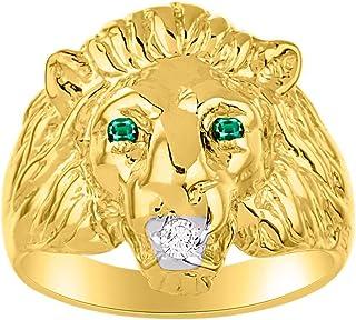 RYLOS Increíble juego de iniciación de conversación con diamante genuino y precioso rubí precioso, zafiro o cabeza de león...