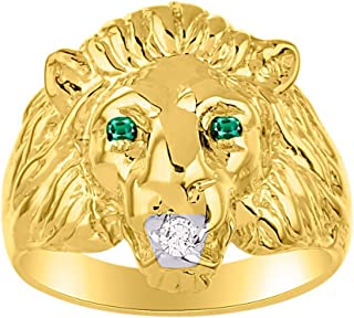 gold lion ring with emerald eyes