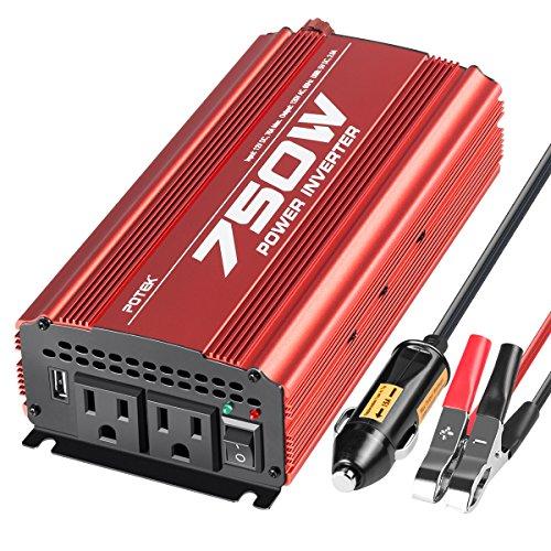 POTEK 750W Power Inverter DC 12 V to AC 115V Car Converter with 2A USB Charging Port