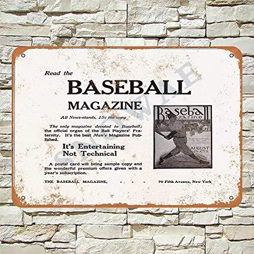 Snowae 1915 Read The Baseball Magazine Metallplakat Wand rostfrei Aluminium wetterfest Dekoration Home Wall Art Decor Retro Vintage Blechschild 30,5 x 20,3 cm