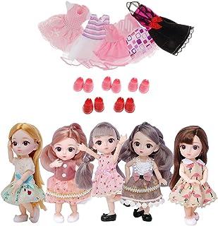 freneci 16cm 12関節ドール ロング 子供人形 プリンセス ガールズ 着せ替え洋服付き 女の子 プレゼント 5個