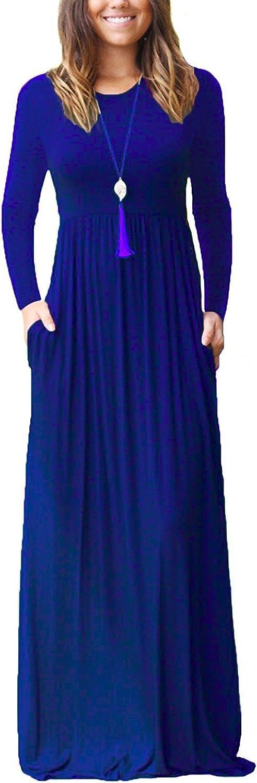 HIYIYEZI Women's Short Sleeve Loose Plain Maxi Dresses Casual Long Dresses with Pockets