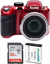 """Kodak AZ421 PIXPRO Astro 16 MP Digital Camera with 42X Optical Zoom and 3"""" LCD Screen (Red) and 32GB Bundle"""