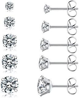 5 Pairs Stud Earrings Set, Hypoallergenic Cubic Zirconia...