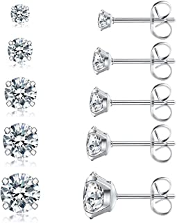 5 Pairs Stud Earrings Set, Hypoallergenic Cubic Zirconia 316L Earrings Stainless Steel CZ..