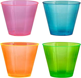 Party Essentials N910090 Plastic Cups, 100-Count, Assorted Neon