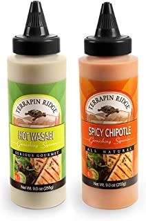Terrapin Ridge Farms Spicy Garnishing Sauce 2 Bottles - All Natural & Gluten Free Gourmet Condiment In A Squeeze Bottle (Spicy Chipotle & Hot Wasabi)
