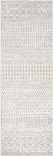 "Harput 2' 7"" x 7' 6"" Moroccan Bohemian Pattern - Farmhouse Area Rug - Runner - Polypropylene - Light Gray, Medium Gray, White"