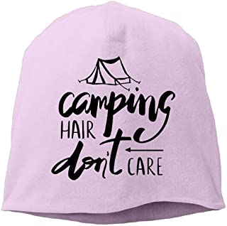 Womens Knit Daily Beanie Hat Camping Hair Don't Care Warm Funny Watch Cap