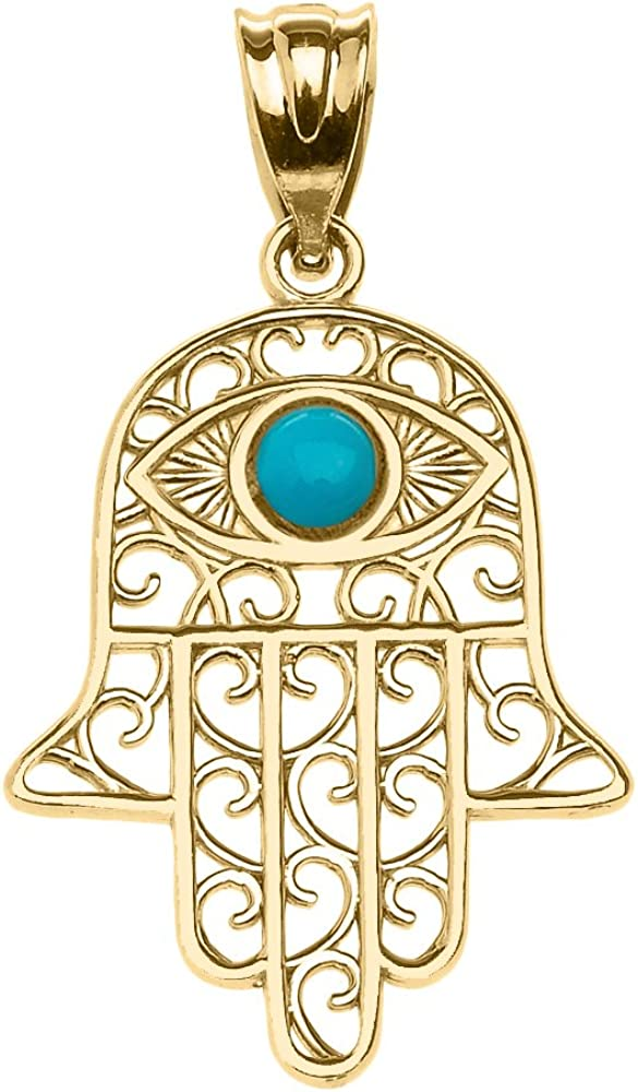 Middle Don't miss the campaign Eastern Jewelry 14k Regular dealer Yellow Gold Hand Eye Hamsa Evil with