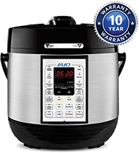 IAIQ Premium 6 Quart Pressure Cooker with 13-in-1 Cook Modes Including Slow Cooker and Manual Electric Pressure Cooker | Stainless Steel (Renewed)