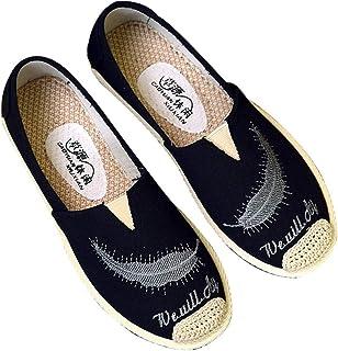 [GoldFlame-JP] レディースシューズ スニーカー ローヒール スリッポン ローヒール キャンバス 編み込み 軽量 履きやすい お出かけ 外出 婦人靴 おしゃれ コンフォート フラットシューズ