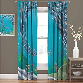 Nautical for Bedroom Blackout Curtains Underwater World with Coral Reef and Tropical Fish Cluster Swimming Cartoon Blackout Curtains for The Living Room W96 x L84 Inch Petrol Blue Grey