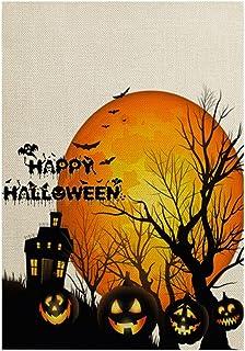 ASKLKD Bannière de Jardin Happy Halloween, 30cm * 45cm Drapeau décoratif à Double Face à Double Face for la Cour Gazon Car...