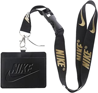 Nike Black Faux Leather Business ID Badge Card Holder with (Black with Gold) Keychain Lanyard
