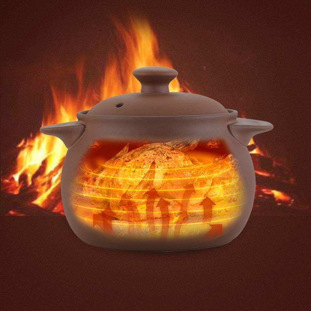 LIUSHI Casserole Chinoise, Pot d'argile Pourpre Casserole Non émaillée Saine Pot d'argile en céramique à Haute température pour Le Repas de Nutrition de feu de gaz-c 2.5l 7.5l