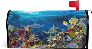 ZZKKO Magnetic Mailbox Covers Ocean Marine Life Turtle Shark Coral Reef Landscape Letter Box Cover Colorful Painting Graden Outdoor Decorations,20.8x18 Inch Standard Size,Multicolor