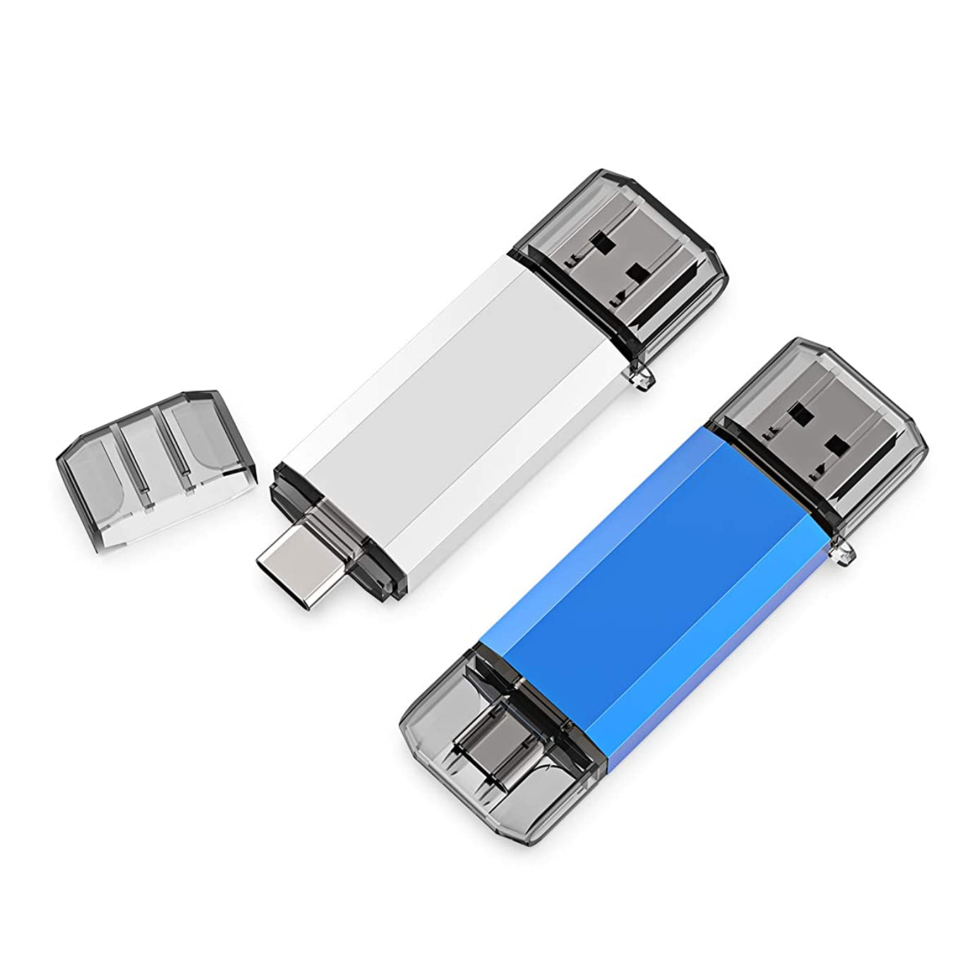 Aiibe 2 Pack 32GB USB 3.0 Type C Flash Drive High Speed Dual USB OTG Flash Drives Memory Stick Thumb Drive for Computers & USB-C Smartphones (2 Mixed Colors: Blue Silver)