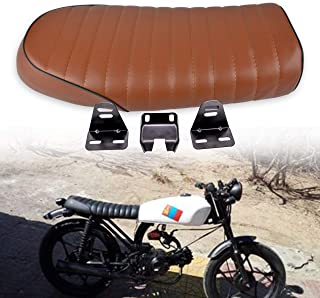 KaTur Universal Motorcycle Cafe Racer Seat Flat Vintage Seat Cushion Saddle for Honda CB125S CB550 CL350 450 CB CL Retro Cafe Racer Brown