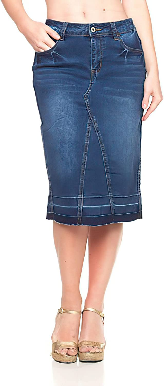 Fashion2Love Women's Juniors/Plus Size Mid - Length Pencil Stretch Denim Skirt (77103)