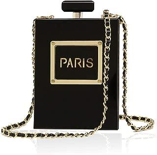 Women's Acrylic Paris Perfume Shaped Black Bag Purses Clutch Evening Bags Vintage Banquet Handbag