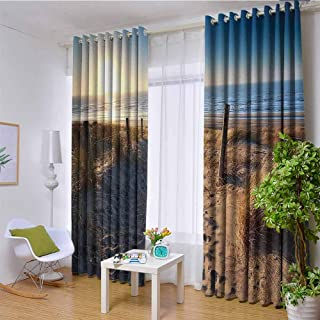 Seaside Decor Collection 100% blackout lining curtain Walkway to Beach in North Sea Zandvoort Aan Zee North Holland Netherlands Image Pattern Full shading treatment kitchen insulation curtain W108 x