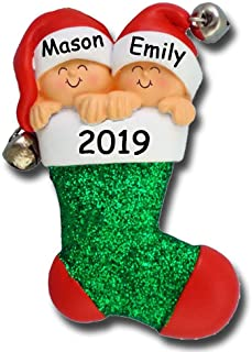 Personalized 2019 Twins in Stocking Christmas Ornament - Jingle Bells with Baby in Santa Hats - Free Custom Names and Year