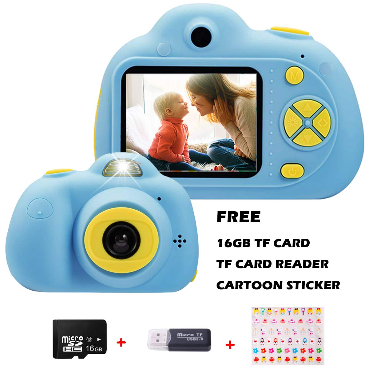 Supports Up to 32G TF Card Ideal Gift for for Boys and Girls Funkprofi Kids Digital Camera 1080P HD Video Recorder 12MP Camcorder Mini Camera with Anti-Slip Buckle Yellow