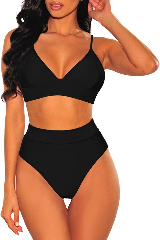 Sovoyontee Women 2 Piece Bathing Suits V Neck Lace-up Back High Waist Bikini Swimsuit