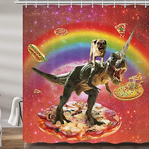 lustiger Dinosaurier-Duschvorhang, rot, cooles Universum, Galaxie, H&, Einhorn, Badevorhänge, Set, Regenbogen-Pizza, Kinder, Polyester-Stoff, Badezimmer-Zubehör, 69