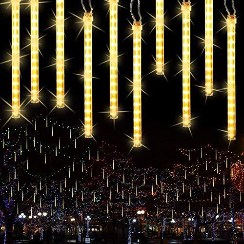 Joomer - Luci per la pioggia, 11,8 pollici, 10 tubetti da 240 LED, a forma di goccia, per alberi di Natale, Halloween, vacanze, matrimoni (bianco caldo)