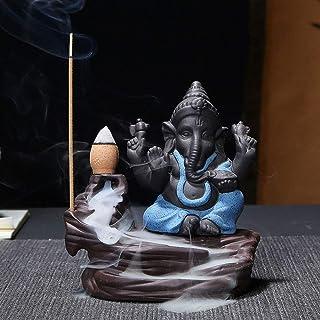 Haihuic Frankincense River Ganesha Backflow Incense Holder Frankincense Tower Burner Cone Incense Holder (Incense Sticks N...
